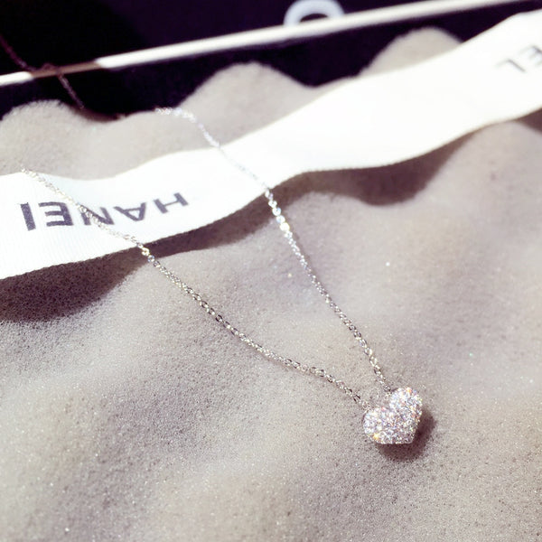 Luxury Bling AAA Zircon Love Heart  Necklace