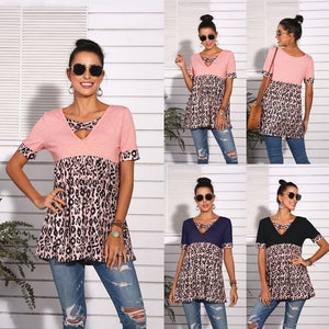 Leopard Casual V-neck Patchwork Top