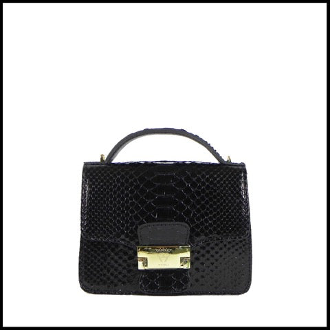 GHIBLI Black Chic Python Leather Shoulder Bag GB02204W