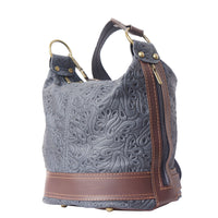 FLM Bucket backpack purse transformable in bucket bag with pattern