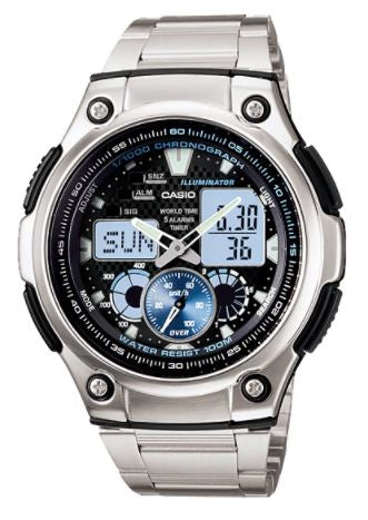 CASIO Men's Chronograph World Time Analog Digital AQ-190WD-1AV