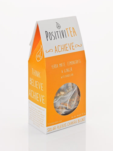Positivitea Achieve Tea Bags - Yerba Mate, Lemongrass & Ginger With Dandelion - Spiffy
