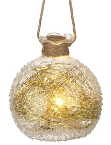 Rough Edged Glass LED Bauble - Christmas - Spiffy