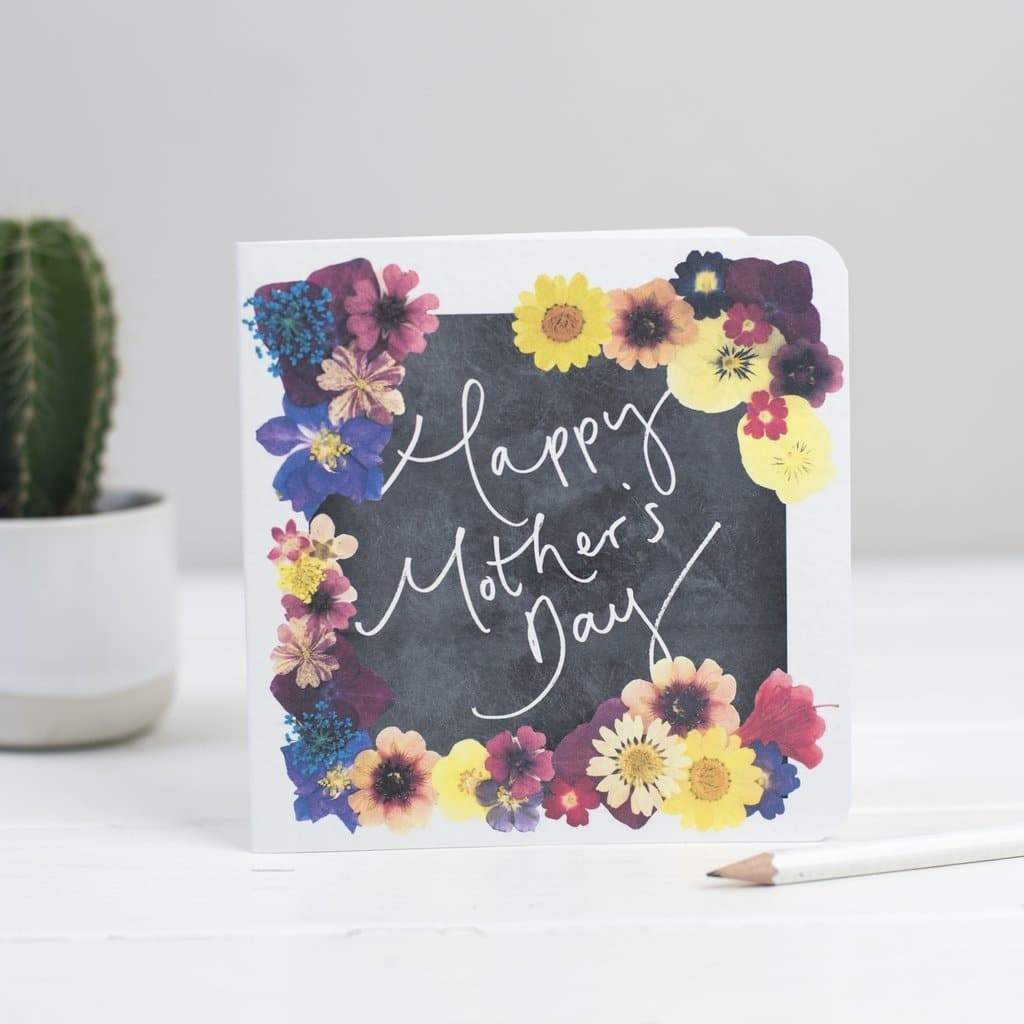 'Happy Mother's Day' Floral Chalkboard Hand Lettered Card - Cards - Mothers Day - Spiffy
