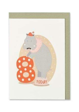 """8 Today"" - Hippo Child's Birthday Card - Spiffy"