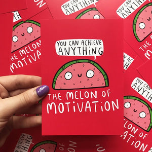 The Melon of Motivation - A6 Postcard by Katie Abey - Postcards - Spiffy