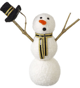 Gold Glitter Woolly Standing Christmas Snowman Decoration (21cm) - Christmas - Spiffy