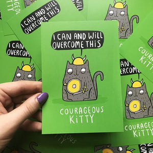 Courageous Kitty - A6 Postcard by Katie Abey - Postcards - Spiffy
