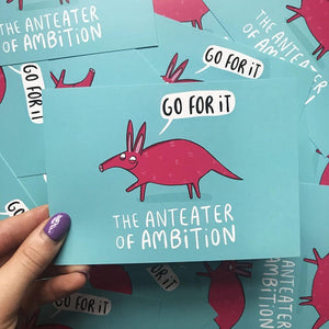 The Anteater of Ambition - A6 Postcard by Katie Abey