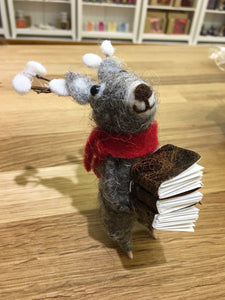 Christmas Reindeer with Stack of Books Wool Decoration - Christmas - Spiffy