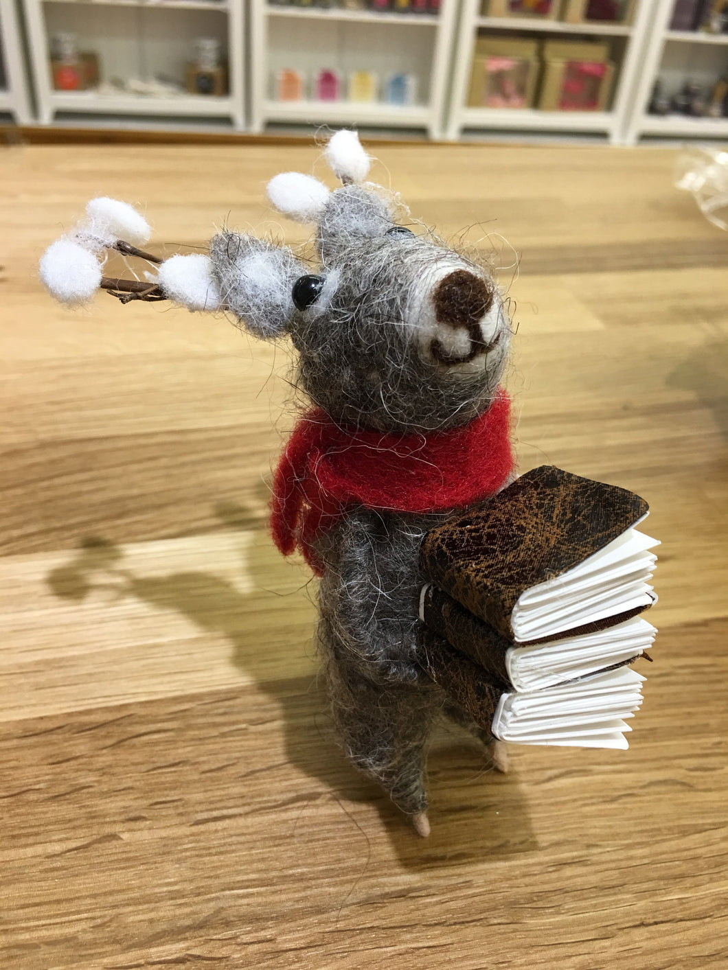 Christmas Reindeer with Stack of Books Wool Decoration - Christmas Standing Decorations - Spiffy