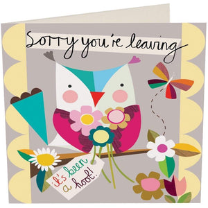 """Sorry you're Leaving"" Retirement/New Job Card - Owl by Caroline Gardner - Cards - New Job and Retirement - Spiffy"