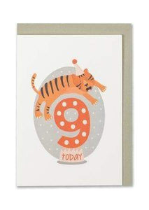 """9 Today"" - Tiger Child's Birthday Card - Cards - Happy Birthday - Spiffy"