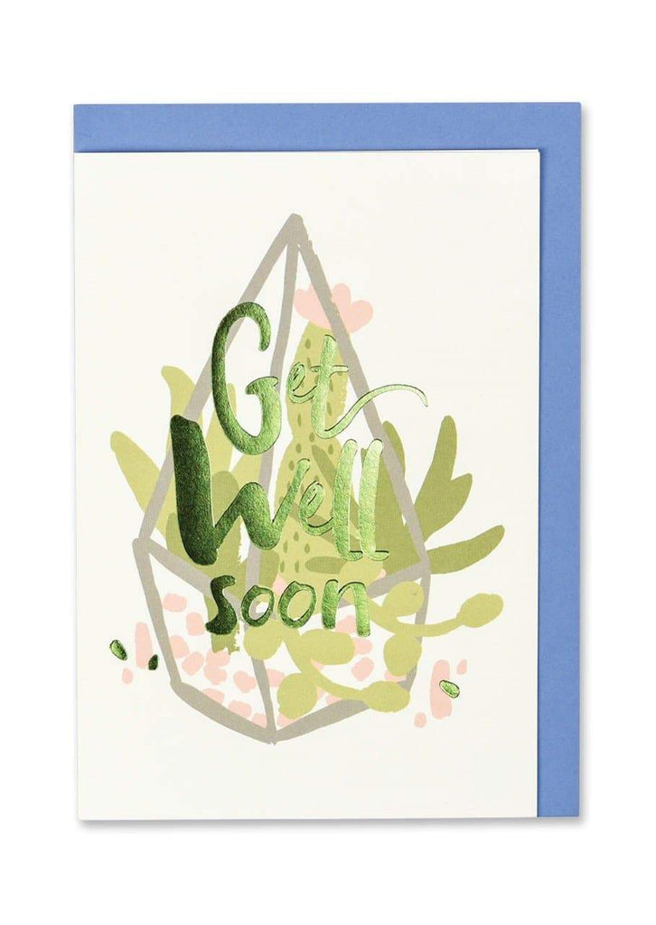 """Get Well Soon"" Foil Finish Greeting Card - Spiffy"
