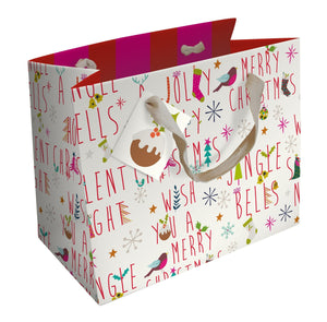 Christmas Text Large Gift Bag - Gift Bag by Caroline Gardner - Christmas Gift Bags - Spiffy