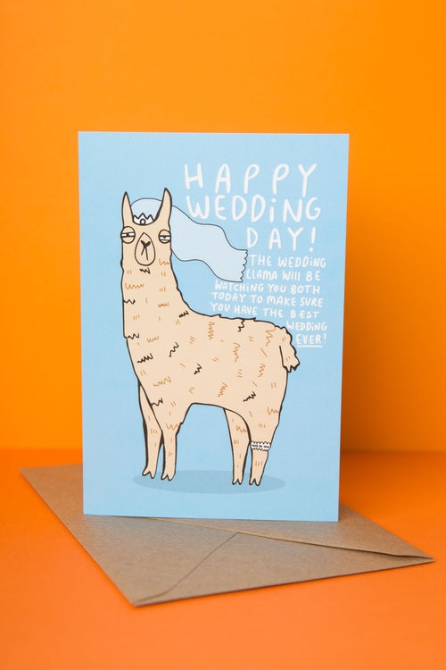 The Wedding Llama - Wedding Card by Katie Abey - Cards - Wedding and Engagement - Spiffy
