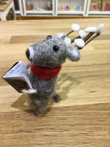 Christmas Reindeer with Song Book Wool Decoration - Christmas Standing Decorations - Spiffy