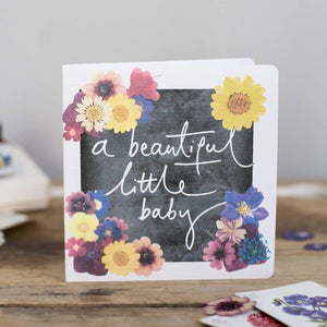 'A Beautiful Little Baby' Hand Lettering Floral Chalkboard New Baby Card - Cards - New Baby - Spiffy