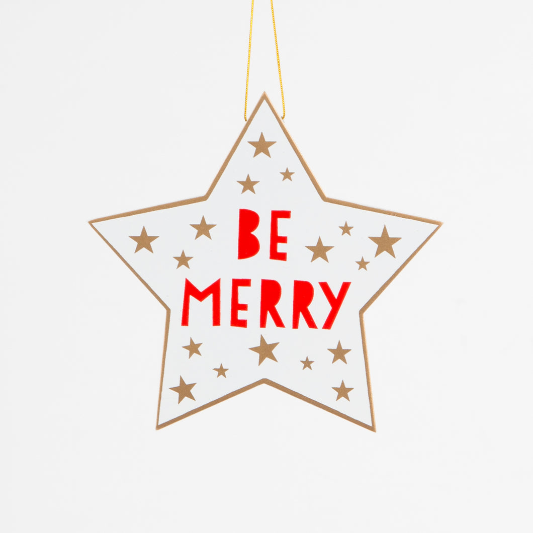 Be Merry Hanging Star Decoration - Christmas Hanging Decorations - Wall - Spiffy