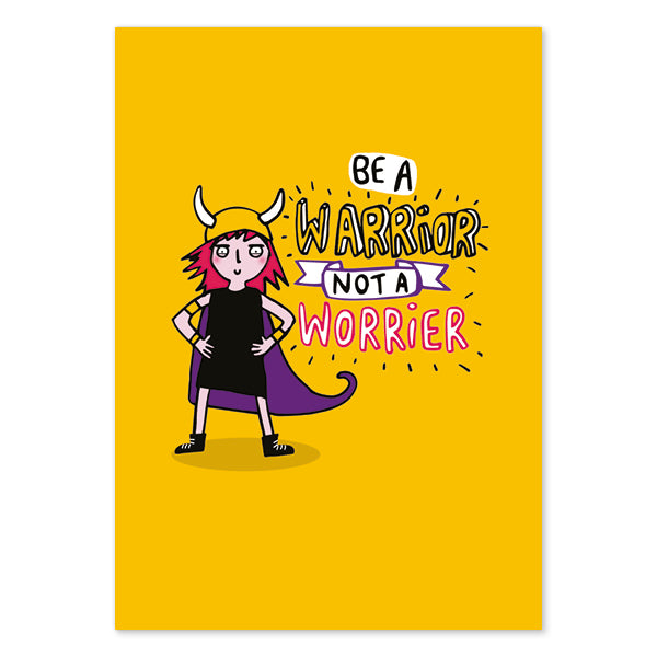 Be a Warrior Not a Worrier Postcard by Katie Abey - Spiffy