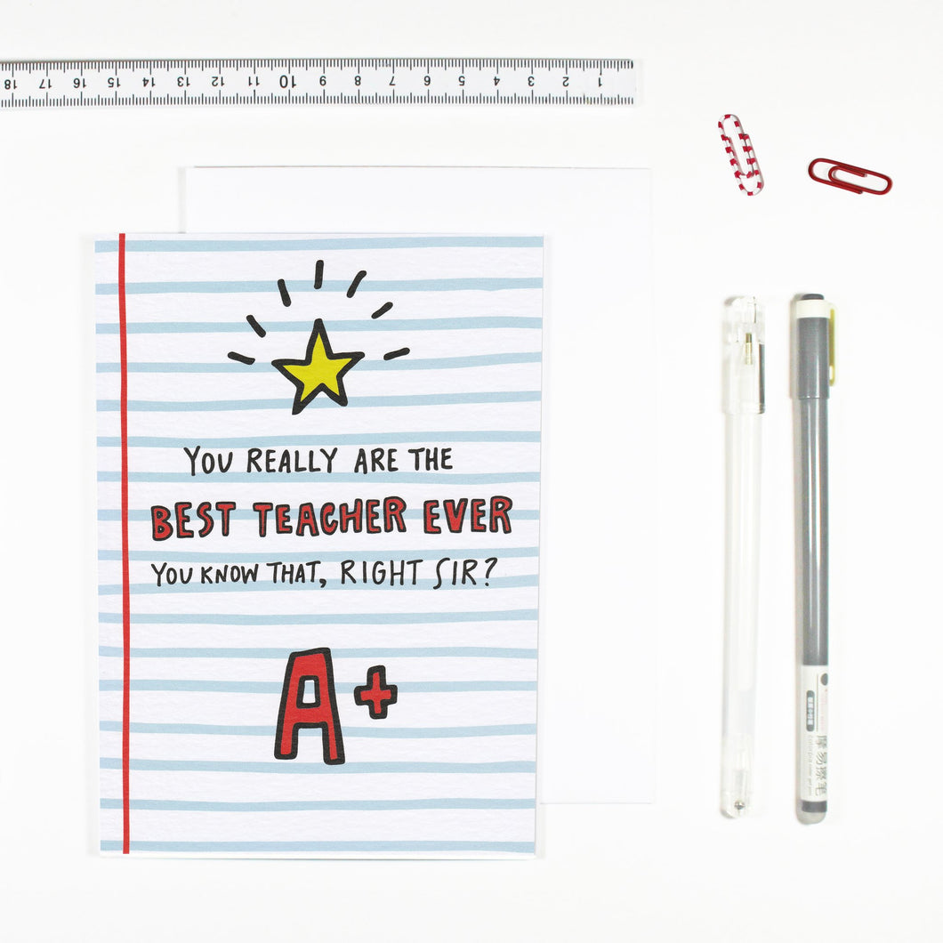 Best Teacher Card - Sir - by Angela Chick - Cards - Teacher - Spiffy