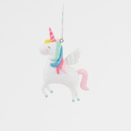 Clay Shimmer Rainbow Unicorn Hanging Decoration - Christmas Hanging Decorations - Tree - Spiffy