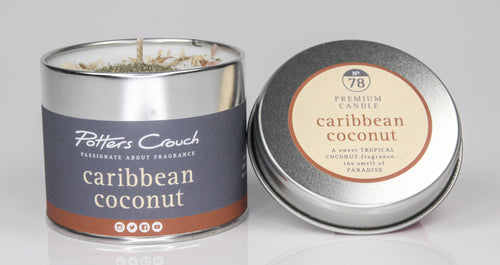 Potters Crouch Caribbean Coconut Luxury Fragranced Candle Tin