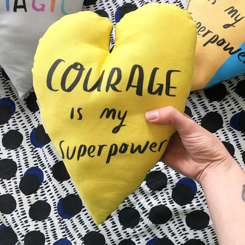 Courage is my Superpower Yellow Heart Plushie Cushion