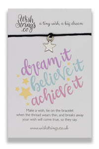 Dream, Believe, Achieve - Wishstrings Wish Bracelet - Wish Bracelets - Spiffy