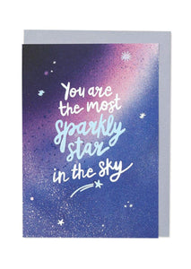 """You Are The Most Sparkly Star In The Sky"" Greetings Card - Cards - Encouragement - Spiffy"