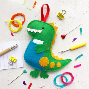 Worry Dinosaur Felt Sewing Kit - Sewing Kits - Spiffy