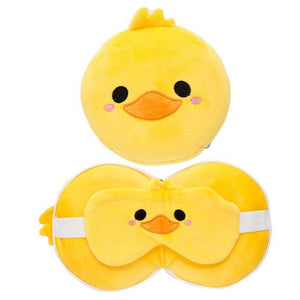 Resteazzz Cutiemals Travel Pillow and Eye Mask - Duck - Spiffy