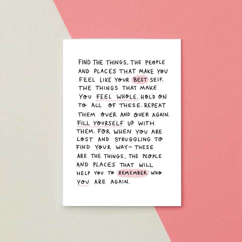 Feel Like Your Best Self Greetings Card by Jess Rachel Sharp - Cards - Empathy - Spiffy