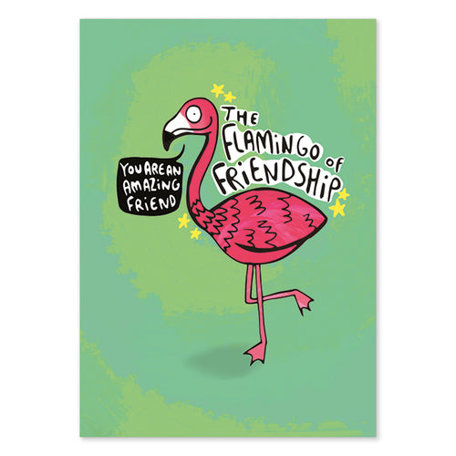 Flamingo Of Friendship Postcard by Katie Abey