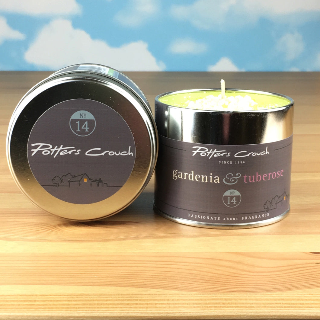 Potters Crouch Gardenia and Tuberose Luxury Fragranced Candle Tin
