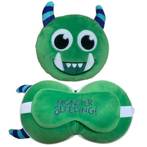 Resteazzz Cutiemals Travel Pillow and Eye Mask - Green Monster - Spiffy