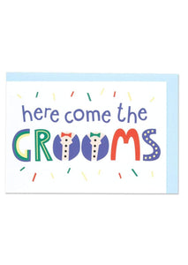 """Here Come The Grooms"" Wedding Card - Spiffy"