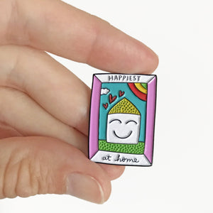 Happiest at Home Enamel Pin by Angela Chick
