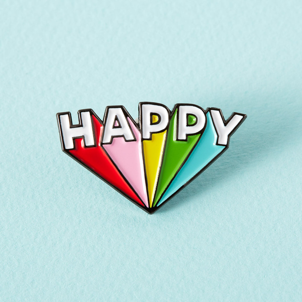 Happy Enamel Pin - Enamel Pins - Spiffy