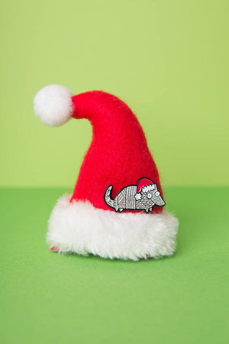 The Holiday Armadillo Enamel Pin Badge by Katie Abey