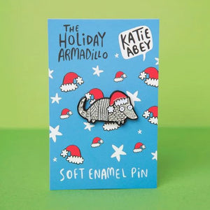 The Holiday Armadillo Enamel Pin Badge by Katie Abey - Enamel Pins - Spiffy