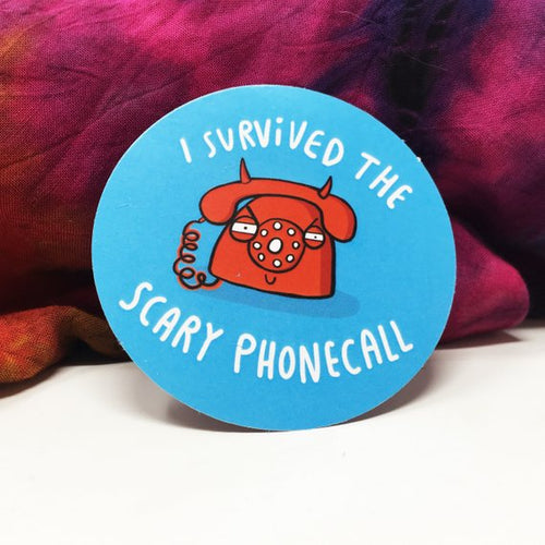 I Survived the Scary Phonecall Adulting Sticker by Katie Abey - Spiffy