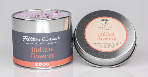 Potters Crouch Indian Flowers Luxury Fragranced Candle Tin - Candles - Spiffy