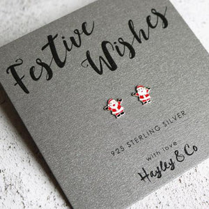 Santa Festive Wishes Sterling Silver Earrings - Christmas Earrings - Spiffy