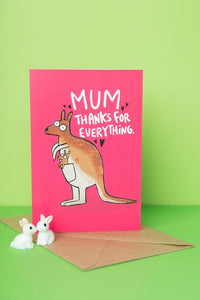 "Kangaroo ""Mum, thanks for everything"" Thank You Card by Katie Abey - Cards - Thank You - Spiffy"