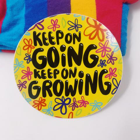 Keep On Going, Keep On Growing Vinyl Sticker by Katie Abey