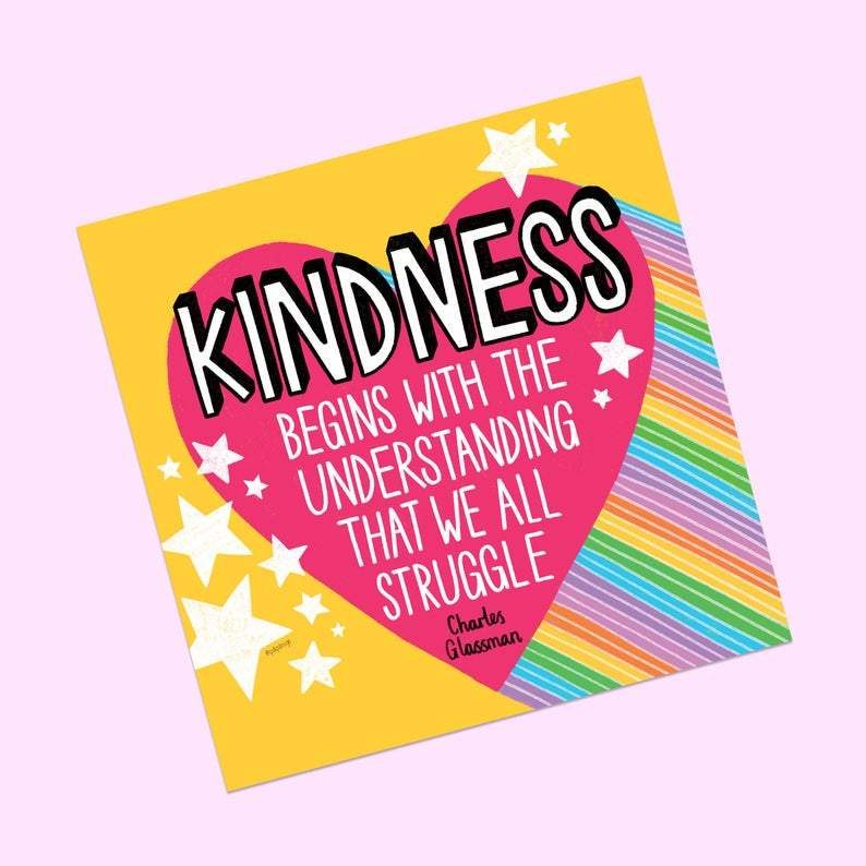 Kindness Begins Postcard Print - Postcard Prints - Spiffy