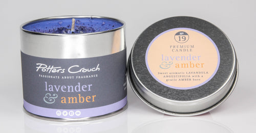 Potters Crouch Lavender & Amber Luxury Fragranced Candle Tin - Candles - Spiffy