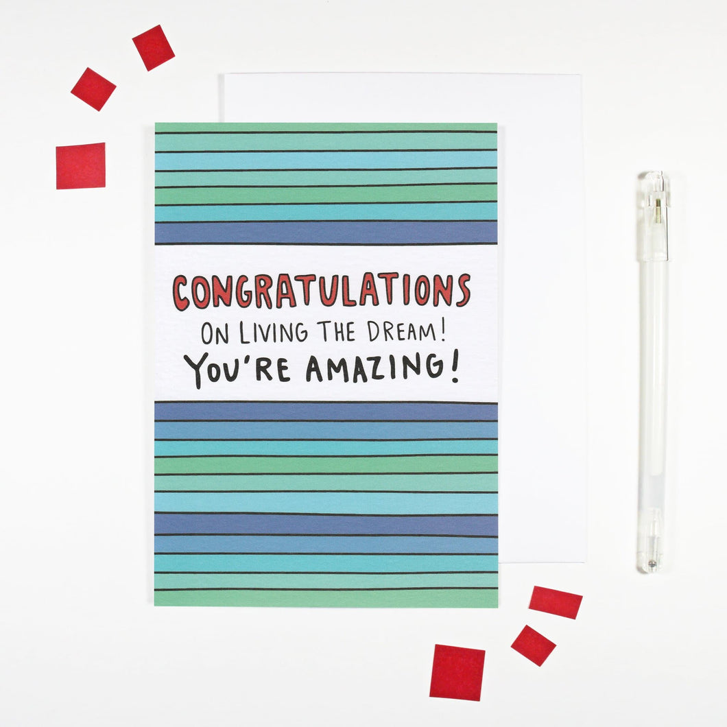 'Living the Dream' Congratulations Card by Angela Chick - Cards - Congratulations - Spiffy