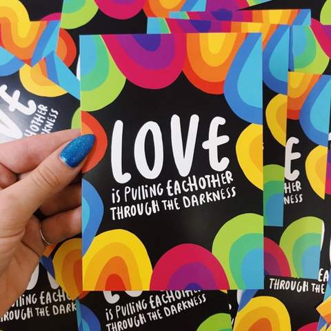 Love Through The Darkness A6 Postcard by Katie Abey